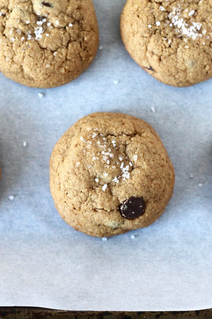 You'll love these Sea Salt Whole Wheat Chocolate Chip Cookies. They're a healthier version of your favorite cookie, with less butter and sugar than the traditional recipe. Plus, they're made with whole wheat flour instead of white flour, a substitution you can feel good about! // www.littlechefbigappetite.com