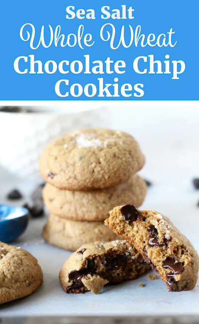 Stack of Salted Whole Wheat Chocolate Chip Cookies // www.littlechefbigappetite.com