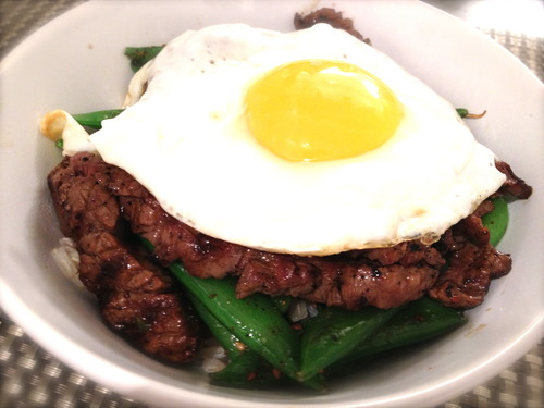 Korean Rice Bowl with Steak and Snap Peas