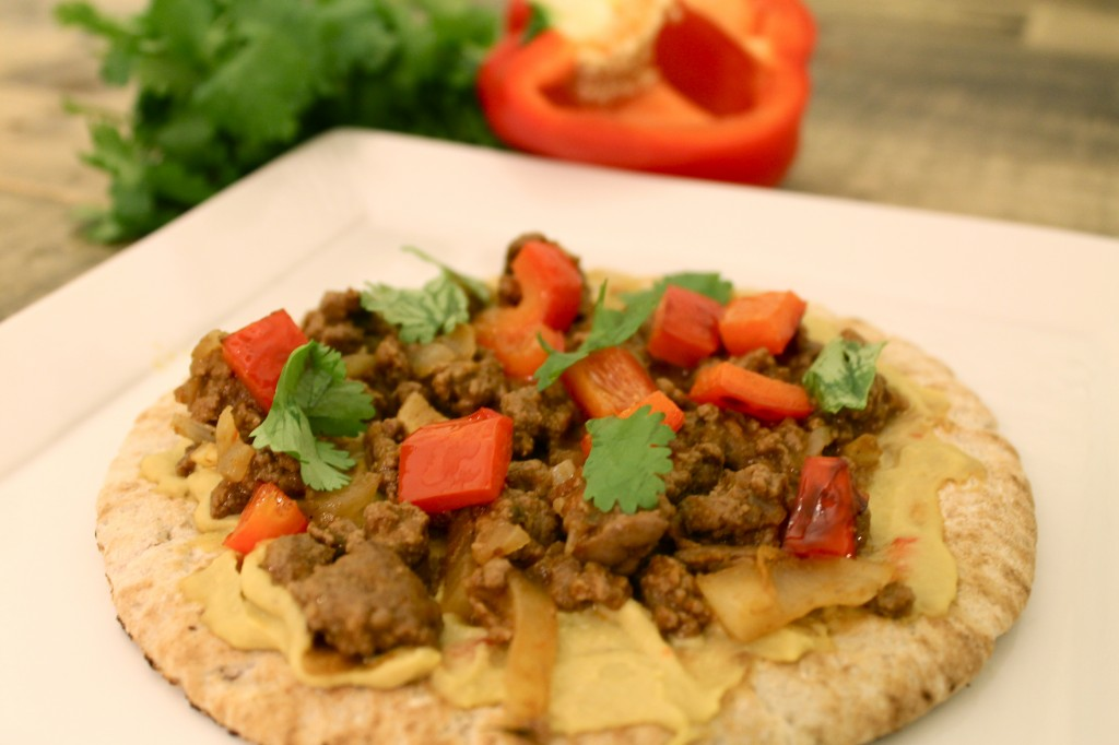 Pita Pizza with Ground Sirloin and Hummus
