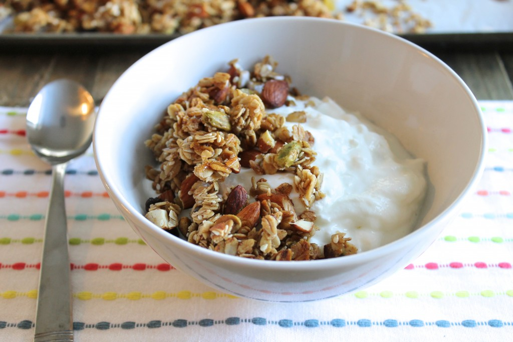 This Cardamom Granola with Almonds and Pistachios is incredibly addicting! It's Gluten-Free, Dairy-Free, Refined Sugar-Free, and Vegan. Eat it on top of yogurt, a smoothie bowl, or just by the handful. You're going to love it! ll www.littlechefbigappetite.com