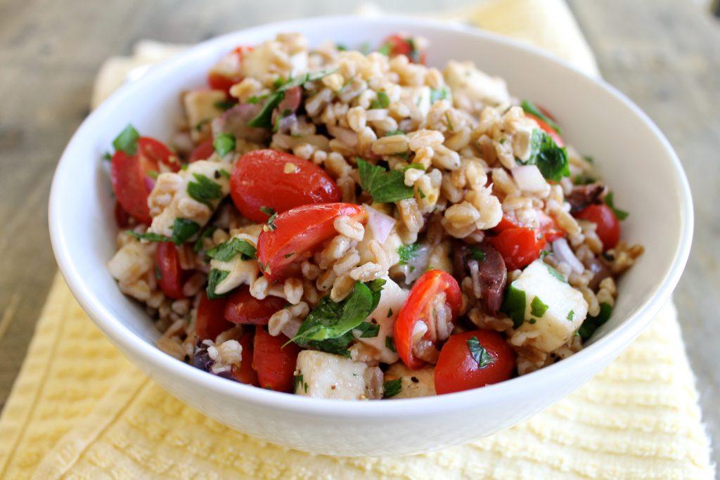 Summer Farro Salad with Cherry Tomatoes and Mozzarella