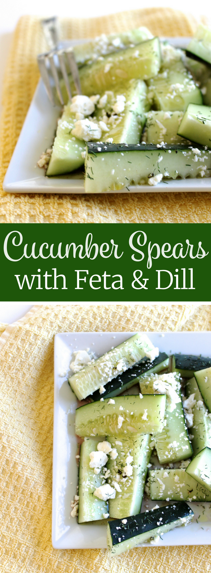 Try this healthy, low-calorie snack: Cucumber Spears with Feta and Dill ll www.littlechefbigappetite.com
