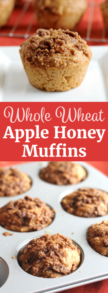 Healthy Whole Wheat Apple Honey Muffins. Perfect for the Jewish holiday of Rosh Hashanah! ll www.littlechefbigappetite.com