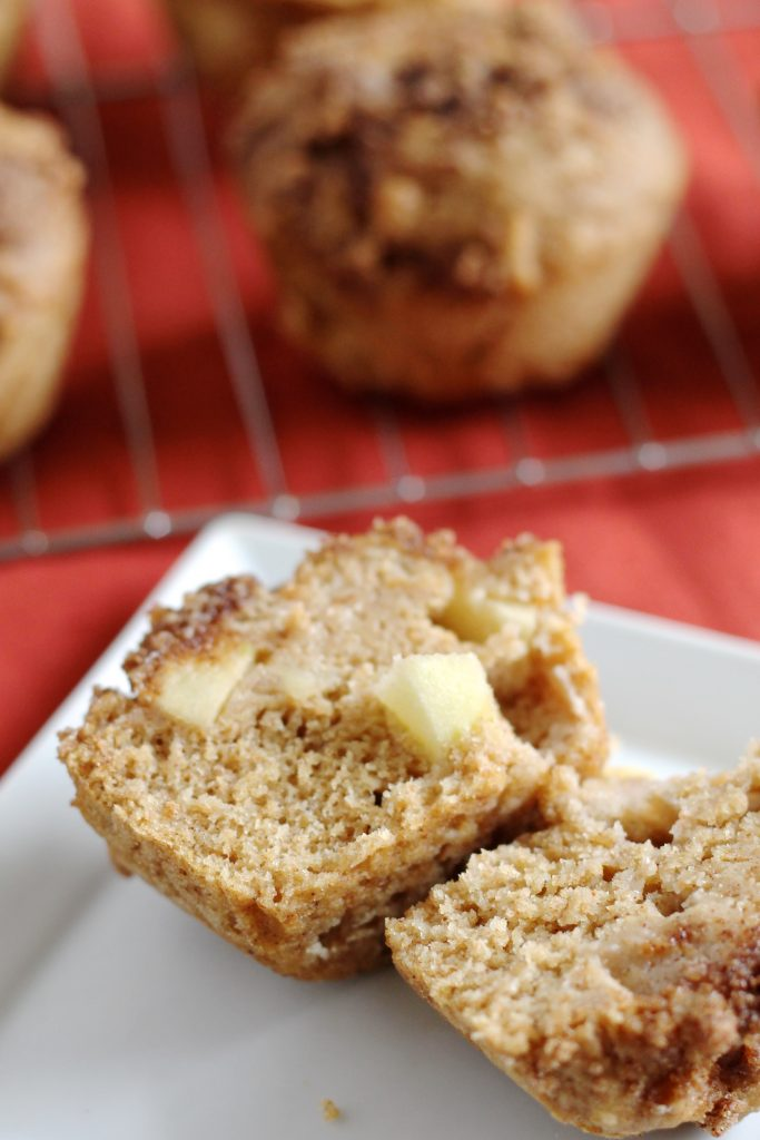 These Whole Wheat Apple Honey Muffins are the perfect fall breakfast or snack! They're made with 100% whole wheat flour and NO butter, making them a healthy treat that the whole family will love. // www.littlechefbigappetite.com // Whole Wheat Muffins // Whole Wheat Apple Muffins // Honey Muffins // Healthy Apple Muffins // Apples and Honey Recipe