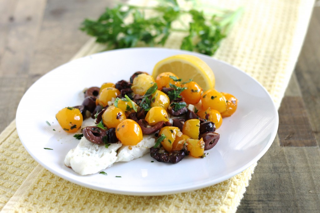 Cod with Cherry Tomatoes and Kalamata Olives Recipe