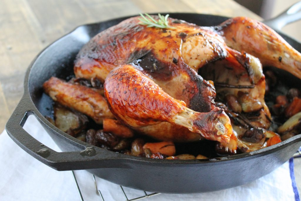 Perfect Roast Chicken with Grapes and Onions