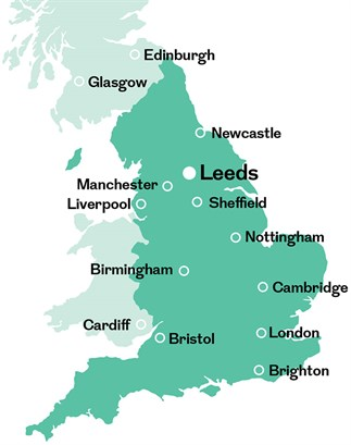 Map of Leeds England