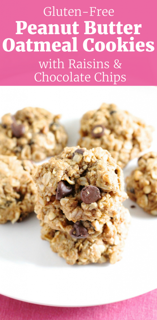 Gluten-Free Peanut Butter Oatmeal Cookies with Chocolate Chips and Raisins ll www.littlechefbigappetite.com