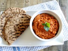 Muhammara is one of my favorite appetizers! It's a roasted red pepper dip made with toasted walnuts and pomegranate molasses. Serve it with veggies or whole grain crackers for a healthy snack. ll www.littlechefbigappetite.com