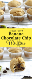 These Gluten-Free Banana Chocolate Chip Muffins are SO delicious! Plus, they contain NO refined sugars! ll www.littlechefbigappetite.com ll Gluten-Free Muffins, Gluten-Free Chocolate Chip Muffins, Banana Chocolate Chip, Refined Sugar Free Muffins