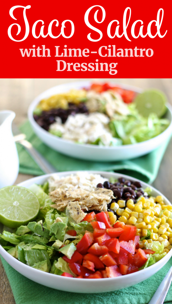 Taco Salad with Shredded Chicken and Lime-Cilantro Dressing! // www.littlechefbigappetite.com // Healthy Salad, Chicken Salad, Salad with Chicken, Healthy Salad Recipe, Lime Dressing, Cilantro Dressing, Cilantro Vinaigrette, Salad with Lime Dressing