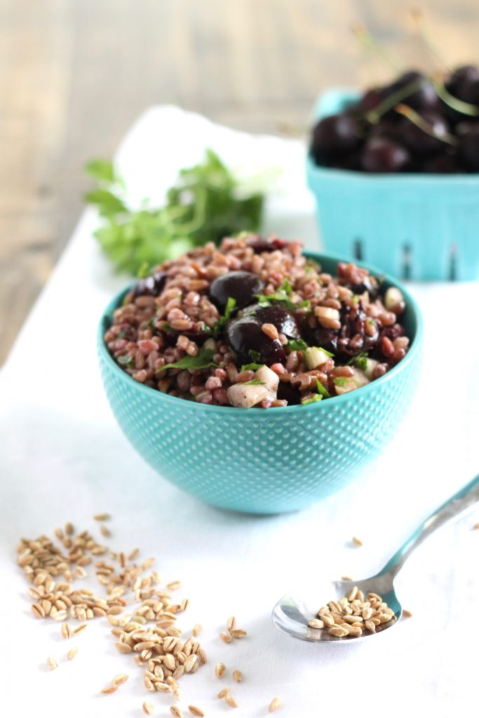 Farro Salad with Cherries and Walnuts Recipe. A great make ahead salad that you can bring to potlucks or pack for work or school! Vegan and Refined Sugar Free! // www.littlechefbigappetite.com // Healthy Salad Recipe, Farro Salad Recipe, Farro with Walnuts, Farro with Cherries, Healthy Cherry Recipes, Healthy Walnut Recipes, Whole Grain Salad, Grain Salad Recipe