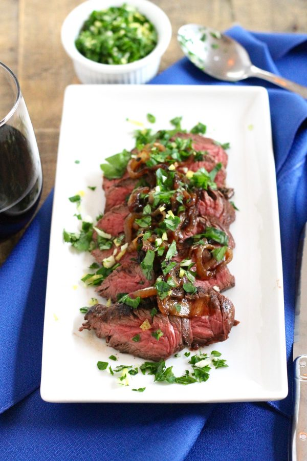 Brown Ale-Marinated Hanger Steak with Caramelized Onions