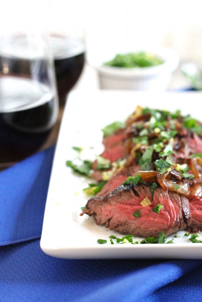 Brown Ale Marinated Hanger Steak with Caramelized Onions Recipe -- Perfect for a Cozy Date Night In! ll www.littlechefbigappetite.com