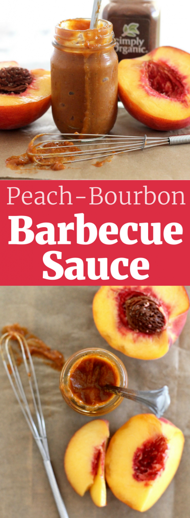Homemade Peach-Bourbon Barbecue Sauce. Refined Sugar-Free, Gluten-Free, and Vegan. ll www.littlechefbigappetite.com