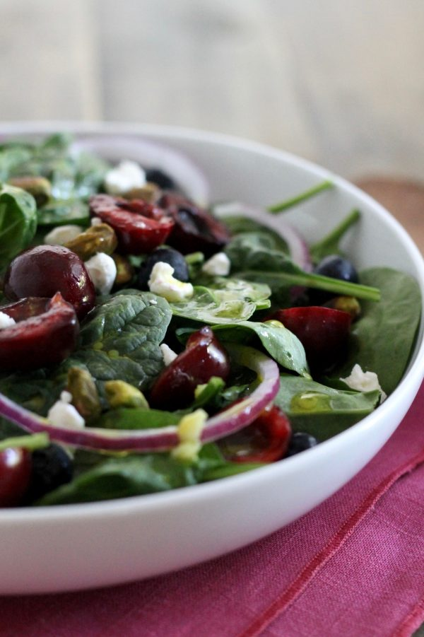 Spinach Salad with Cherries, Goat Cheese, and Pistachios