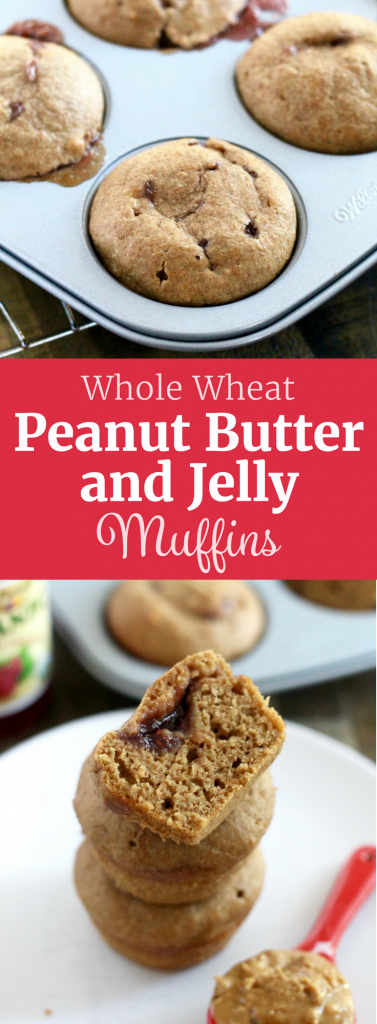 Whole Wheat Peanut Butter and Jelly Muffins. A delicious and healthy snack or after-school treat! ll www.littlechefbigappetite.com