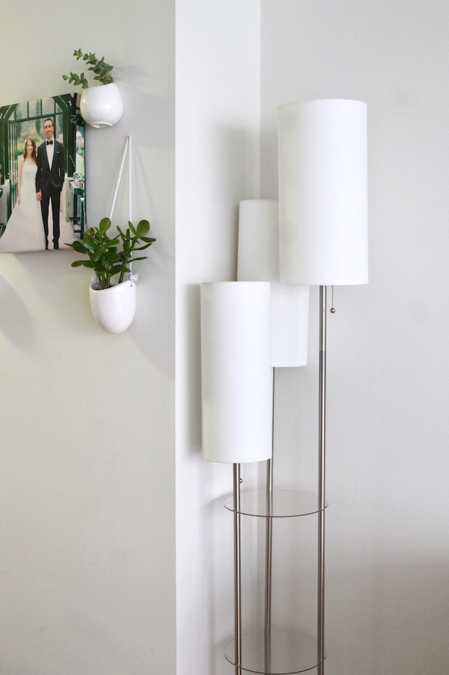 Succulent Wall, White Floor Lamp