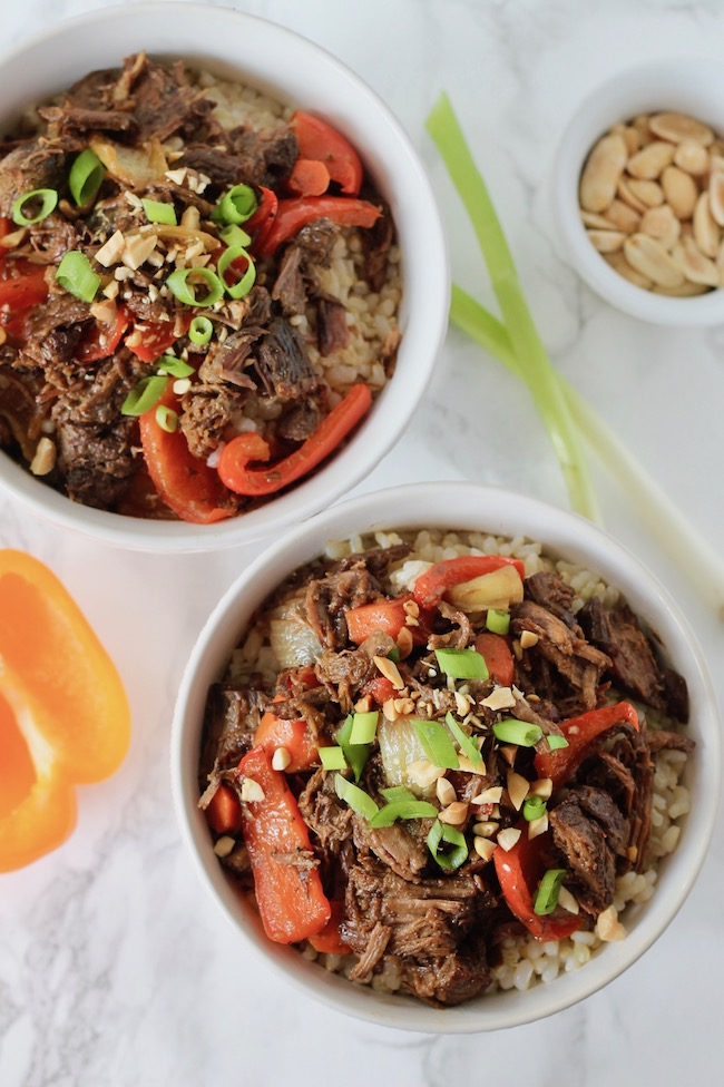 Asian Shredded Beef and Brown Rice Bowl ll www.littlechefbigappetite.com