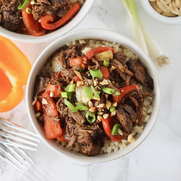Healthy Asian Shredded Beef and Brown Rice Bowls