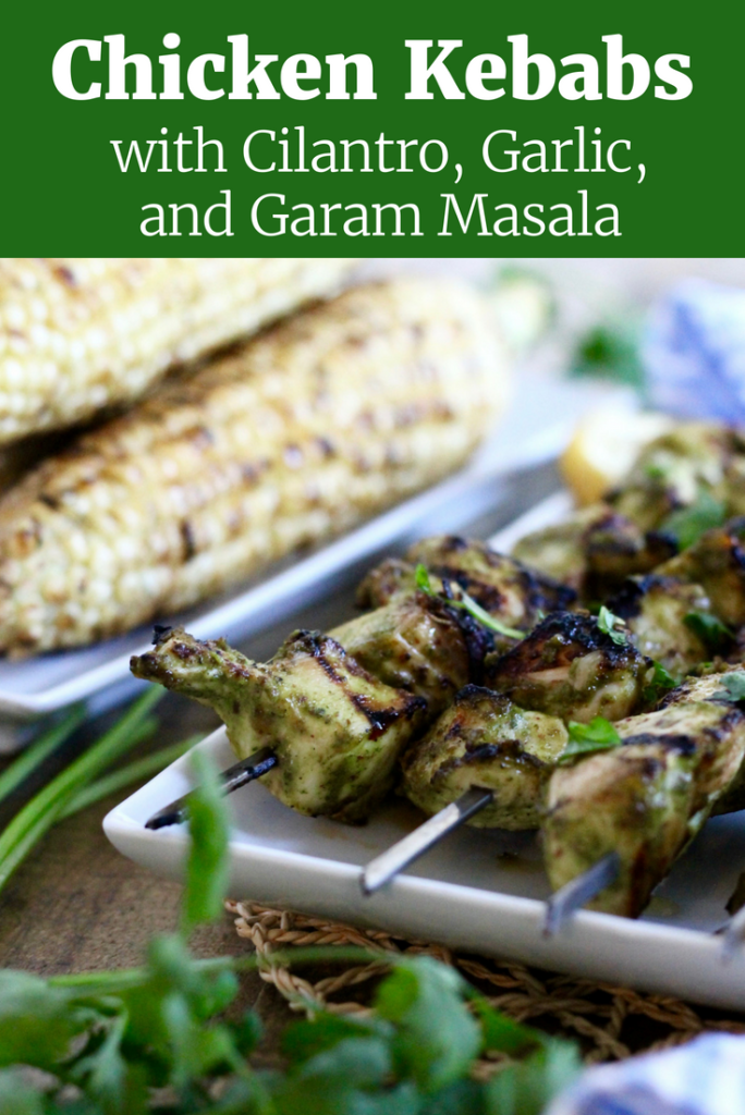 You'll LOVE these Grilled Chicken Kebabs with Cilantro, Garlic, and Garam Masala! They're a delicious summer barbecue recipe that's dairy-free and gluten-free!   www.littlechefbigappetite.com