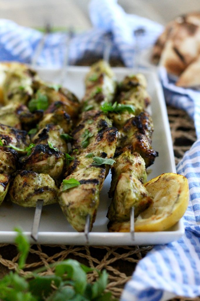 Grilled Chicken Kebabs with Cilantro, Garlic, and Garam Masala ll The perfect summertime grilling recipe that everyone loves! ll www.littlechefbigappetite.com