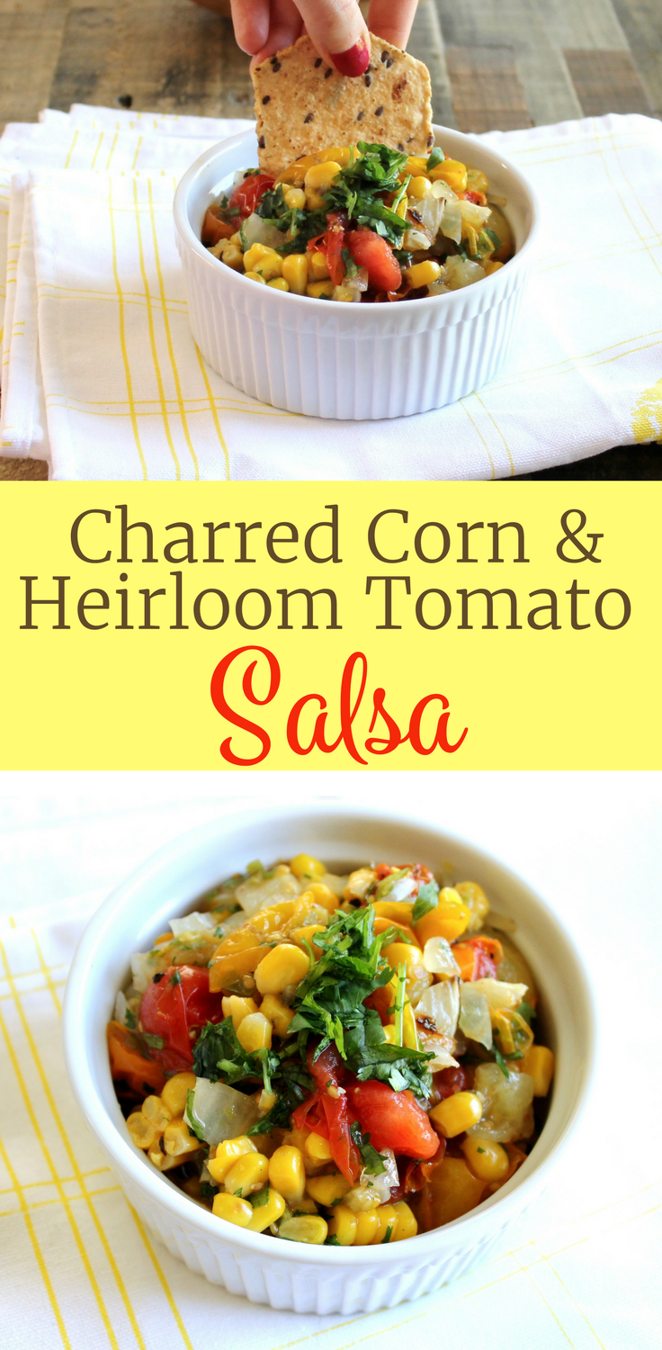 Delicious Charred Corn and Heirloom Tomato Salsa Recipe ll Serve it with chips for a yummy summer snack. Ready in under 15 minutes! ll www.littlechefbigappetite.com