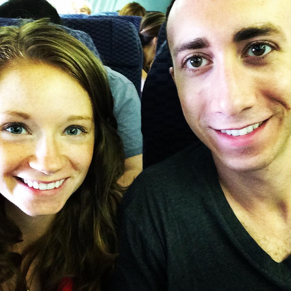 Rachel and Travis on the Plane | www.littlechefbigappetite.com