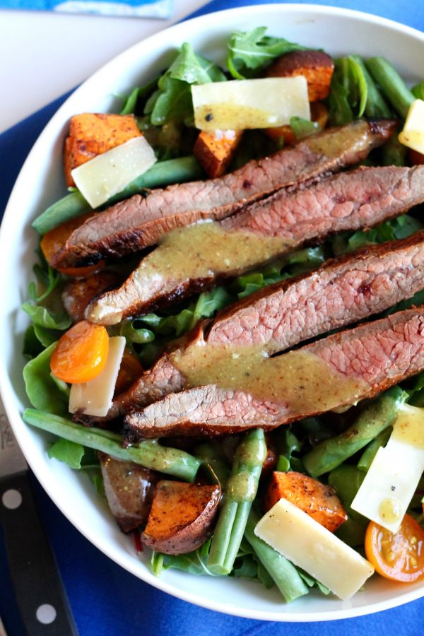 Steak Salad with Sweet Potatoes, Tomatoes, and Shaved Parmesan