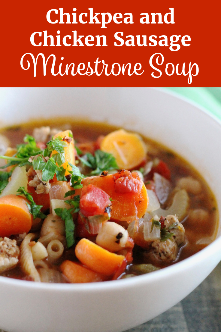 Chickpea and Chicken Sausage Minestrone Soup | www.littlechefbigappetite.com