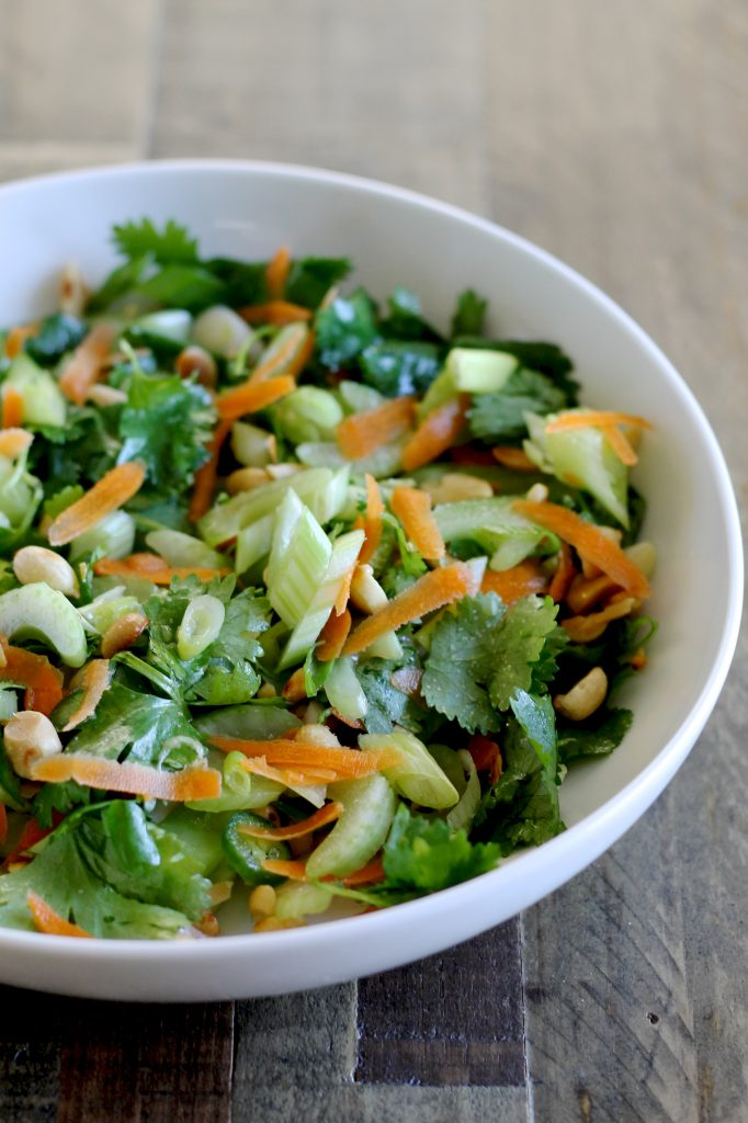 Thai Celery Salad with Cilantro, Carrots, Scallions, and Peanuts | www.littlechefbigappetite.com
