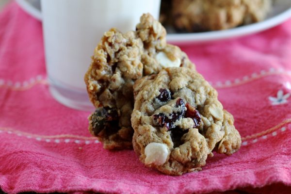 Oatmeal Cookies with Cranberries, Pistachios, and White Chocolate