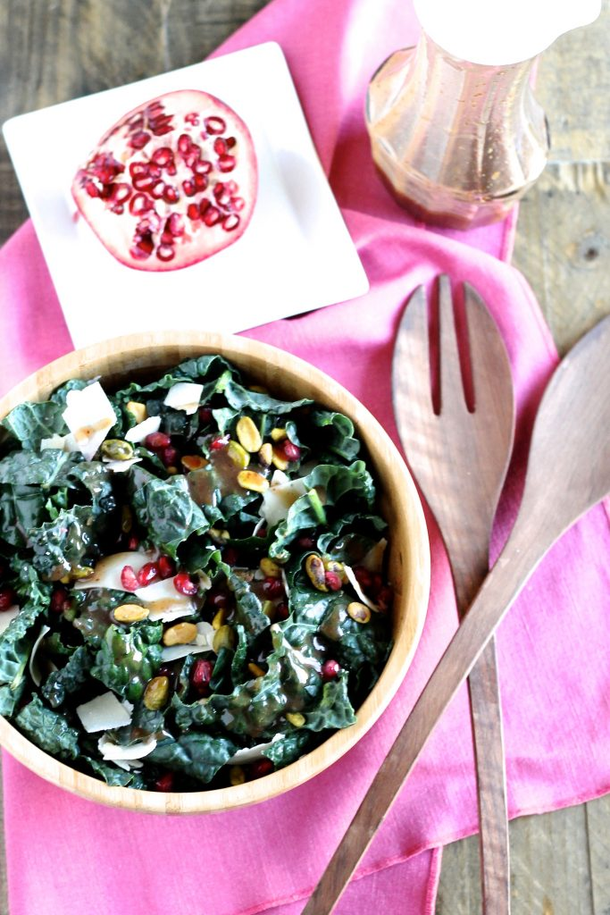 Kale Salad with Pomegranate Molasses Dressing | www.littlechefbigappetite.com 1
