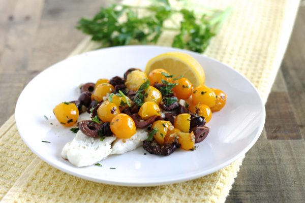 Cod with Cherry Tomatoes and Kalamata Olives