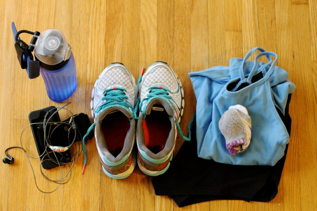 Workout Clothing and Sneakers Laid Out | www.littlechefbigappetite.com