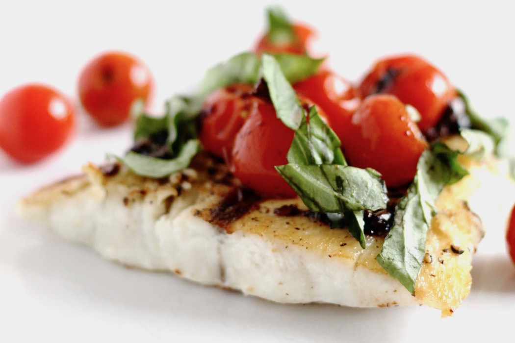 Barramundi with Balsamic Cherry Tomatoes and Basil
