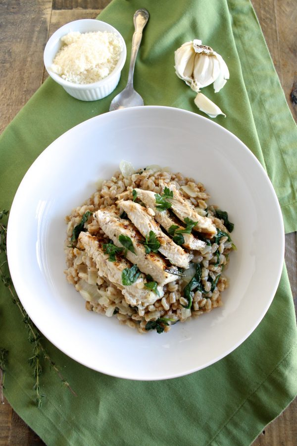 Grilled Rosemary Chicken and Farro Risotto