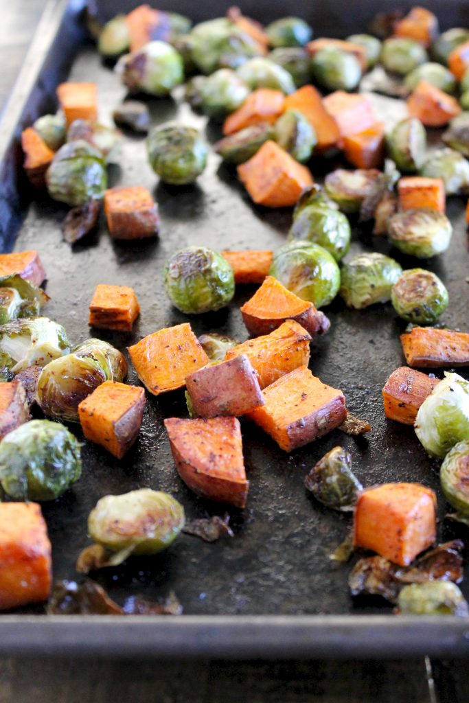 Maple Roasted Brussels Sprouts and Sweet Potatoes Recipe | www.littlechefbigappetite.com 4