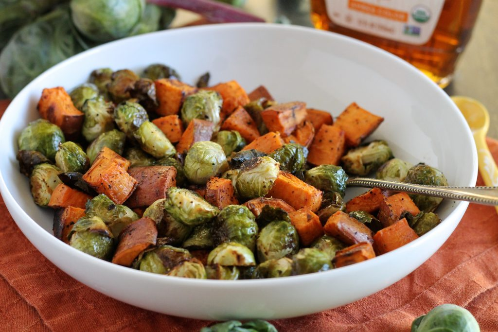 Maple Roasted Brussels Sprouts and Sweet Potatoes Recipe | www.littlechefbigappetite.com 6