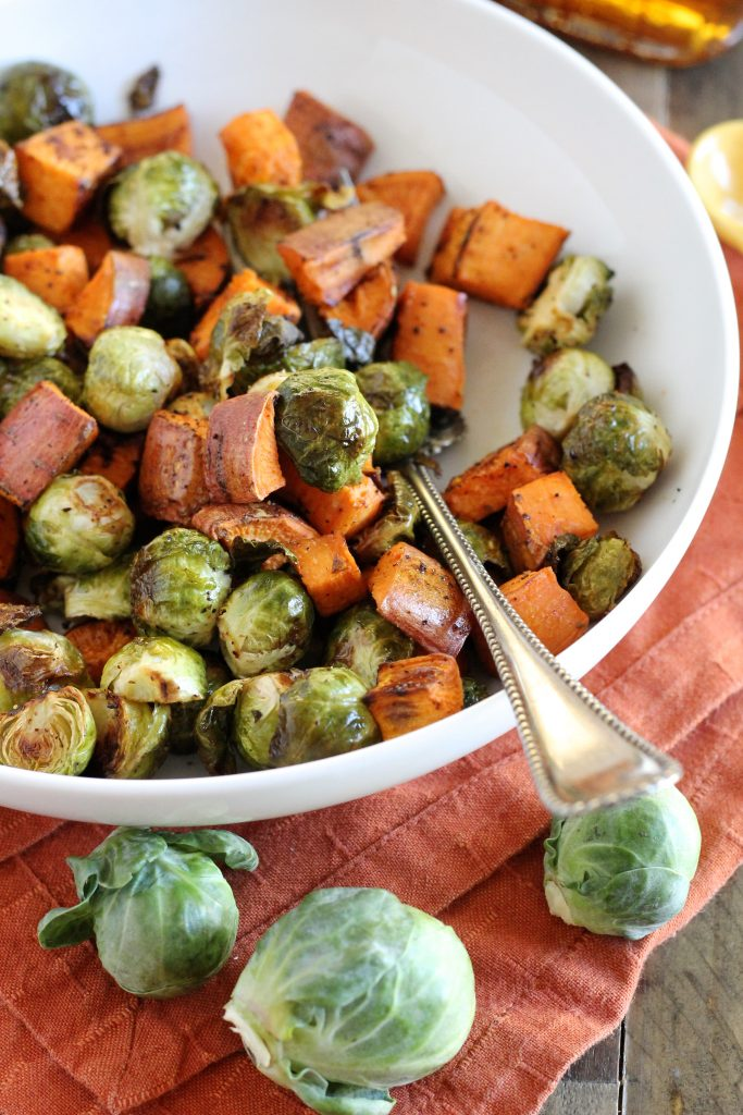 Maple Roasted Brussels Sprouts and Sweet Potatoes Recipe | www.littlechefbigappetite.com 5
