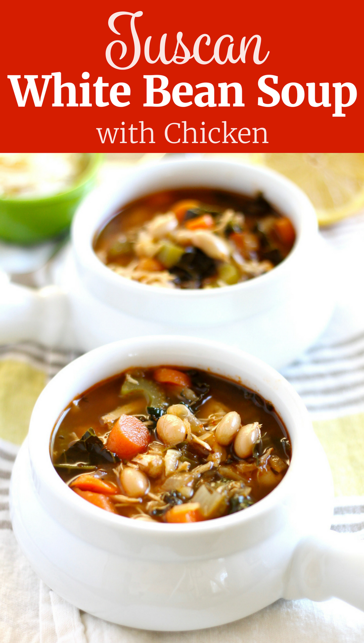 This Tuscan White Bean Soup with Chicken is a delicious hearty meal on a chilly night! It's healthy, gluten-free, and even vegan optional if you leave out the chicken. ll www.littlechefbigappetite.com
