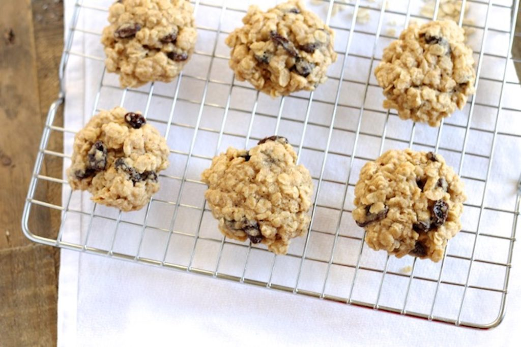 Whole Wheat Oatmeal Raisin Cookies on a wire cooling rack | www.littlechefbigappetite.com 1