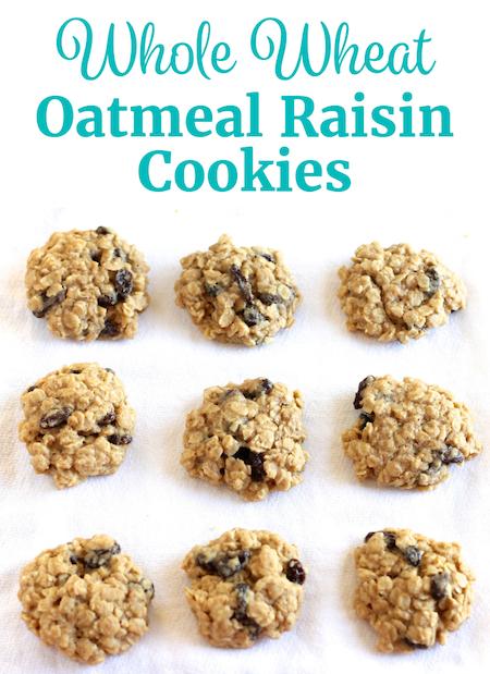 Whole Wheat Oatmeal Raisin Cookies Pinterest | www.littlechefbigappetite.com