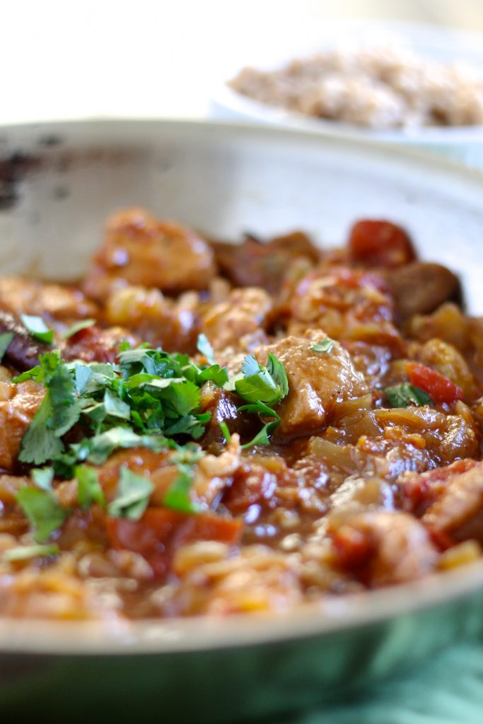 This Chicken Masala with Figs and Golden Raisins is a delicious dish to make for a cozy night at home. Figs and golden raisins bring a nice, sweet contrast to the otherwise savory dish. Chicken thighs stay nice and juicy as they simmer in the tomato mixture. Serve it with whole wheat couscous for a complete healthy meal! Gluten-Free & Dairy-Free ll www.littlechefbigappetite.com