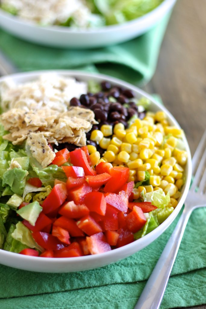 Taco Salad with Shredded Chicken and Lime-Cilantro Dressing | www.littlechefbigappetite.com 4