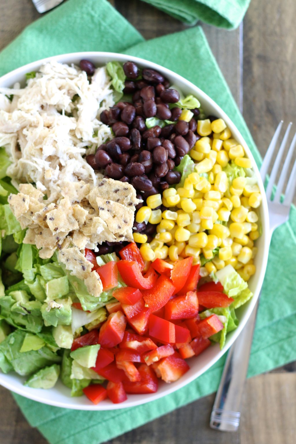 Taco Salad with Shredded Chicken and Lime-Cilantro Dressing! l www.littlechefbigappetite.com