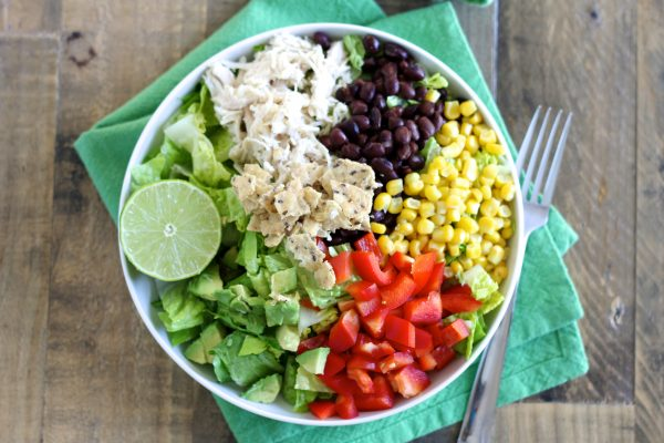 Taco Salad with Chicken and Lime Cilantro Dressing
