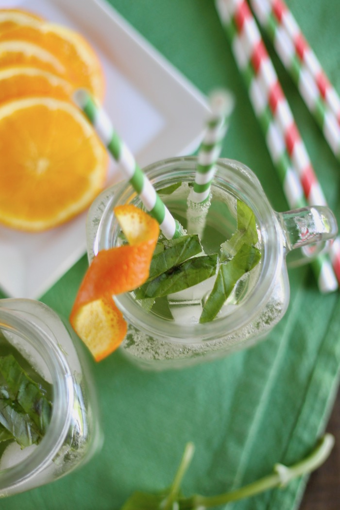 White Wine Spritzer with Basil and Orange