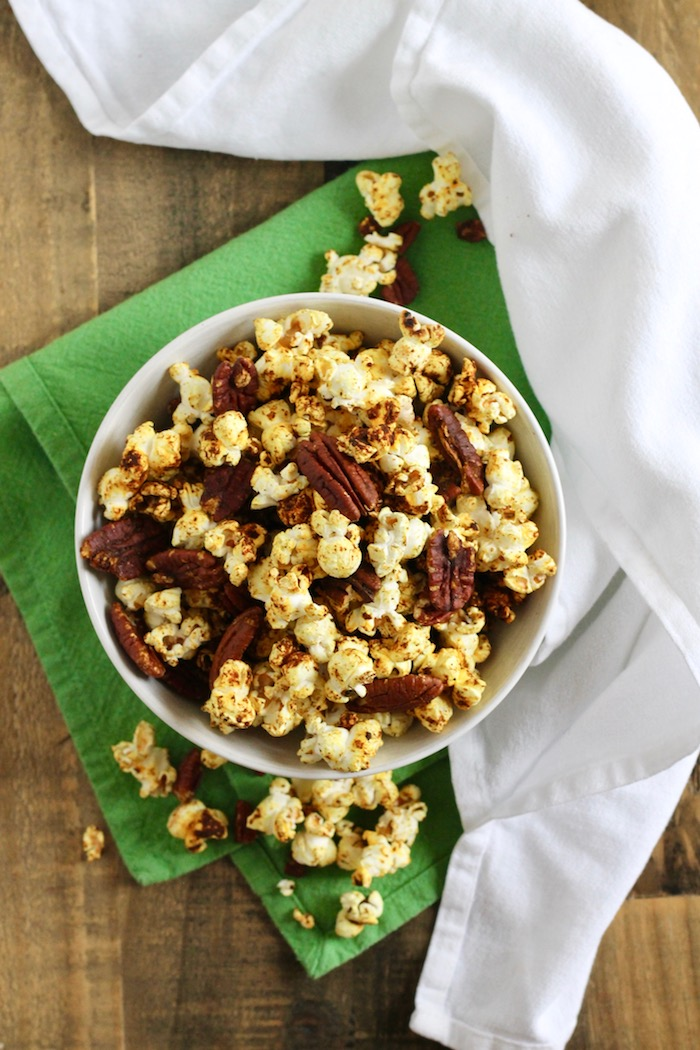 Healthy Spiced Popcorn with Pecans